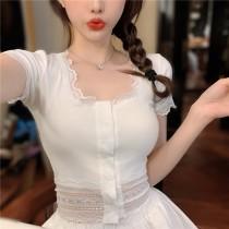 韓版2021夏季新款-蕾絲拼接針織短袖上衣