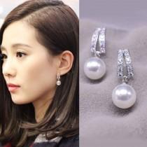 香港正生銀飾雙排鑽珍珠耳釘