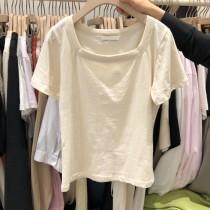 韓版2021夏季新款-方領休閒短袖T恤