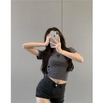 韓版2021夏季新款-性感修身短版T恤