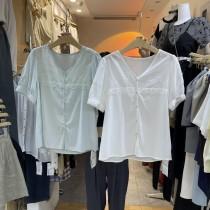 韓版2021夏季新款-氣質小清新V領棉麻寬鬆上衣