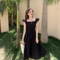 韓版2021夏季新款-優雅赫本鬆緊修身長洋裝