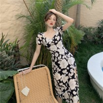 韓版2021夏季新款-法式性感側開叉長洋裝