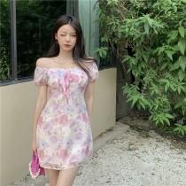 韓版2021夏季新款-法式優雅一字露肩碎花雪紡洋裝