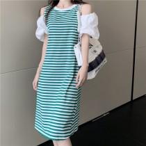 韓版2021夏季新款-休閒俏皮條紋露肩中長洋裝