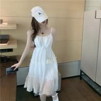 韓版2021夏季新款-細帶荷葉邊裙擺洋裝