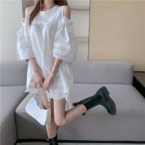 韓版2021夏季新款-氣質拼接雪紡洋裝