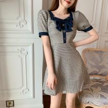 韓版2021夏季新款-古典氣質格紋洋裝