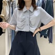韓版2021夏季新款-氣質OL風皺折設計襯衫