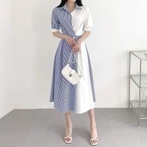 購韓版2021夏季新款-輕熟OL風撞色條紋長洋