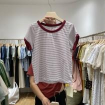 韓版2021夏季新款-U領撞色條紋T恤